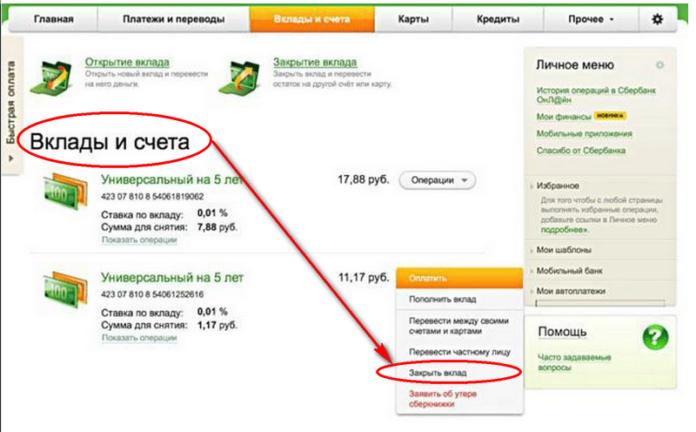 Порядок закрытия депозита в Сбербанке через Сбербанк Онлайн