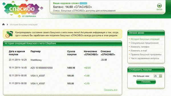 Проверка бонусного счета Спасибо через Сбербанк Онлайн