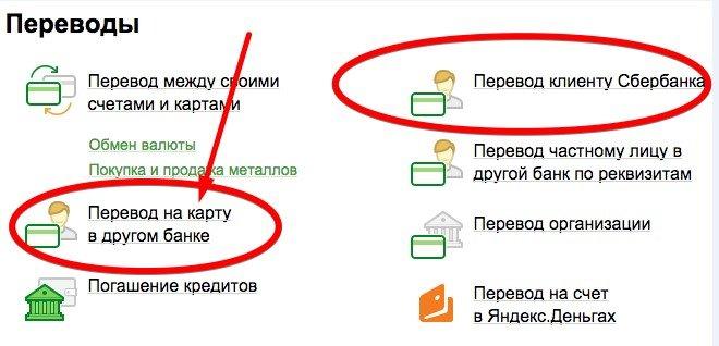 Инструкция перевода денег с карты Сбербанка на карту в другом банке