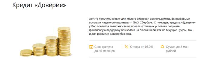 """Условия кредита """"Доверие"""" от Сбербанка"""