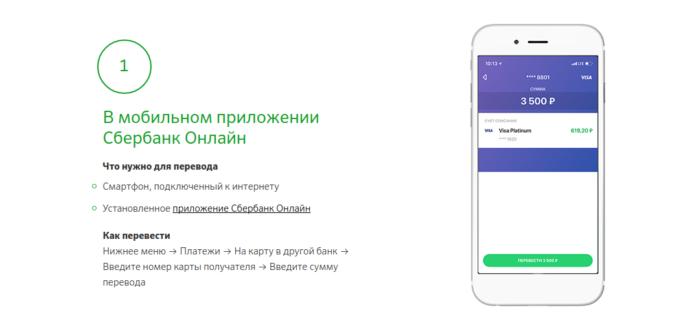 Перевод в другой банк через приложение Сбербанка