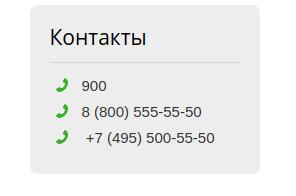 Телефоны горячей линии Сбербанка